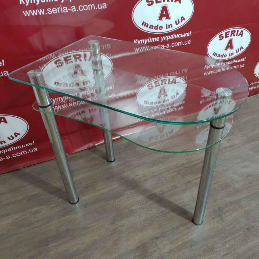 стол обеденный из стекла на трех ножках