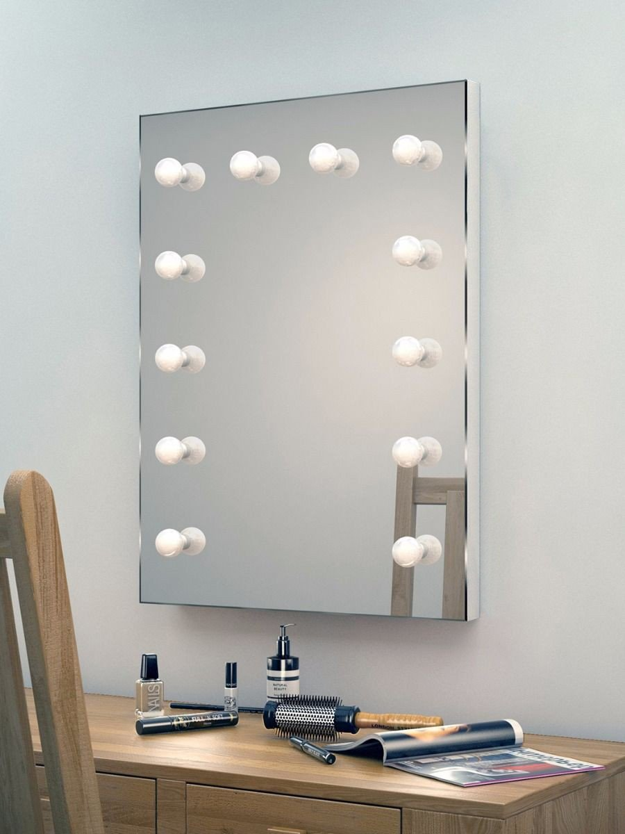 зеркало для макияжа с лампочками 45x65
