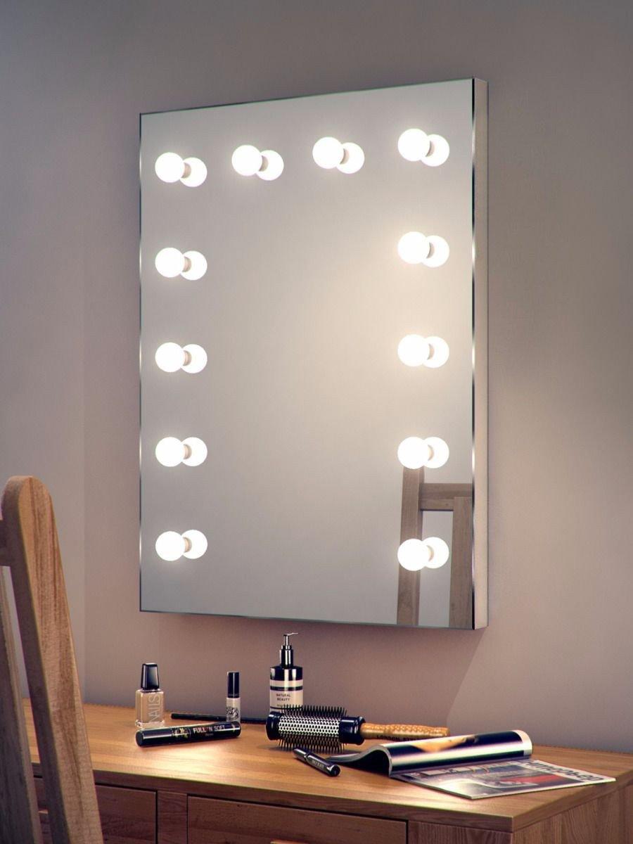 настенное зеркало для макияжа с лампочками гримерное
